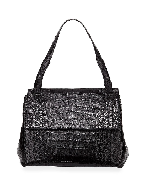 Nancy Gonzalez Sophie Crocodile Shoulder Bag In Sand
