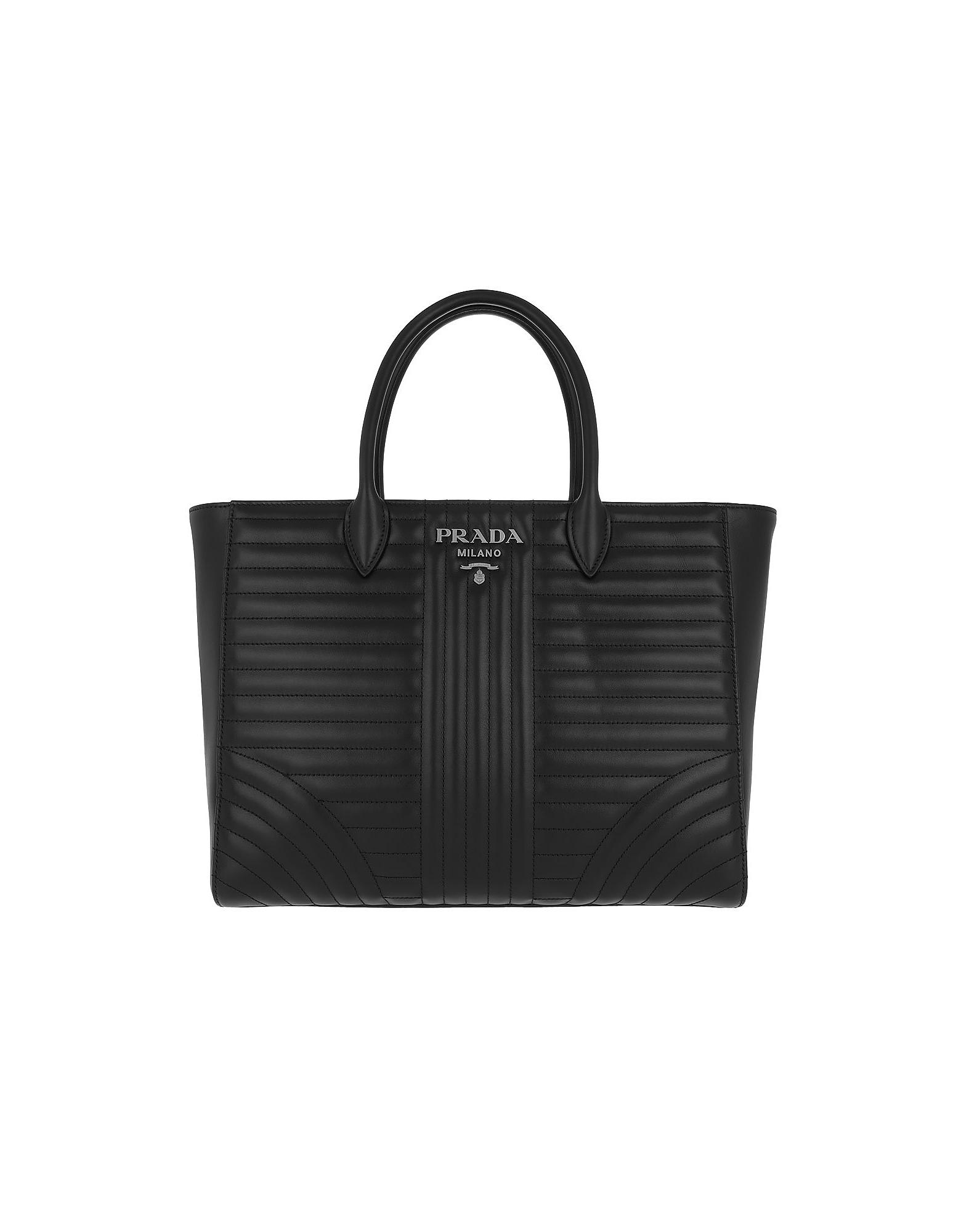 ec70fa27863e9f Prada Diagramme Tote Quilted Leather Nero 2 In Black | ModeSens