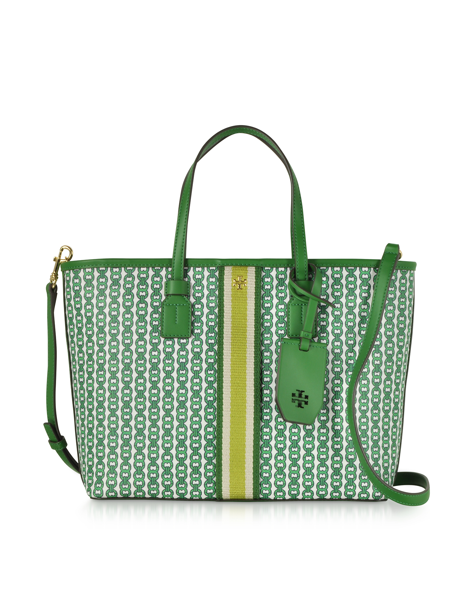 bf29599d9 Tory Burch Gemini Link Coated Canvas Small Tote Bag In Dark Green ...