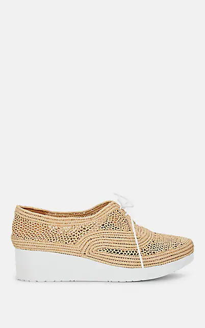 Clergerie Women's Vicole Woven Platform Wedge Oxfords In Brown
