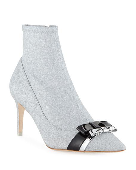 Sophia Webster Women's Andie Metallic Sock Booties In Silver/Black