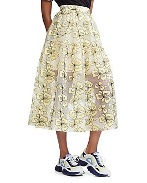 8f36e9e568 Maje Jizia Floral-Embroidered Midi Skirt In Yellow   ModeSens