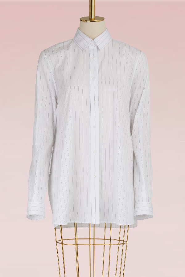 Jil Sander Vivienne Striped Cotton Shirt In White