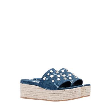 Miu Miu Crystal Embellished Platform Slide Sandal In Blue