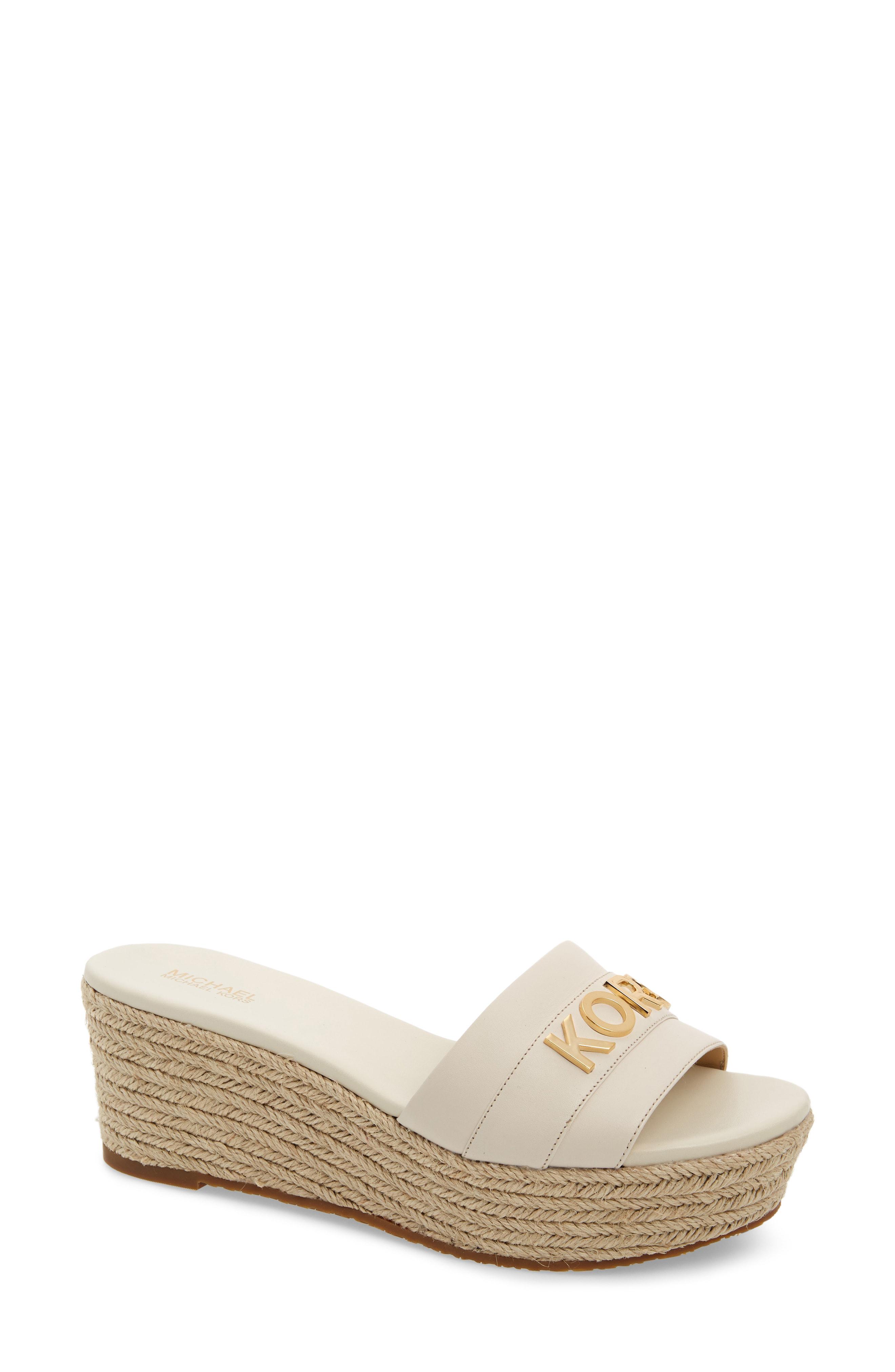 21f209378abf Michael Michael Kors Brady Platform Slide Sandal In Light Cream Vachetta  Leather
