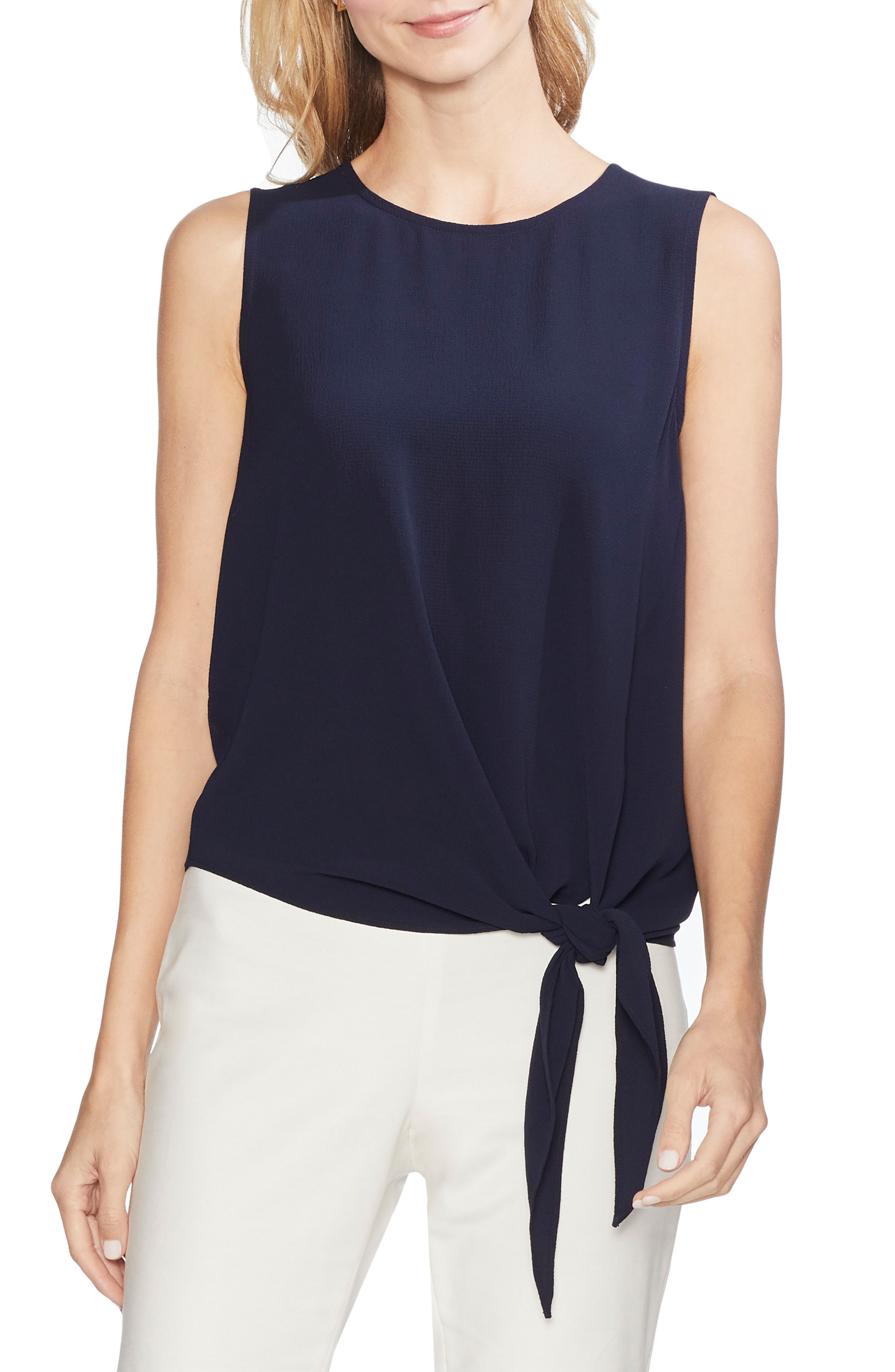 ecbedd996bbe Vince Camuto Sleeveless Tie Front Blouse In Classic Navy