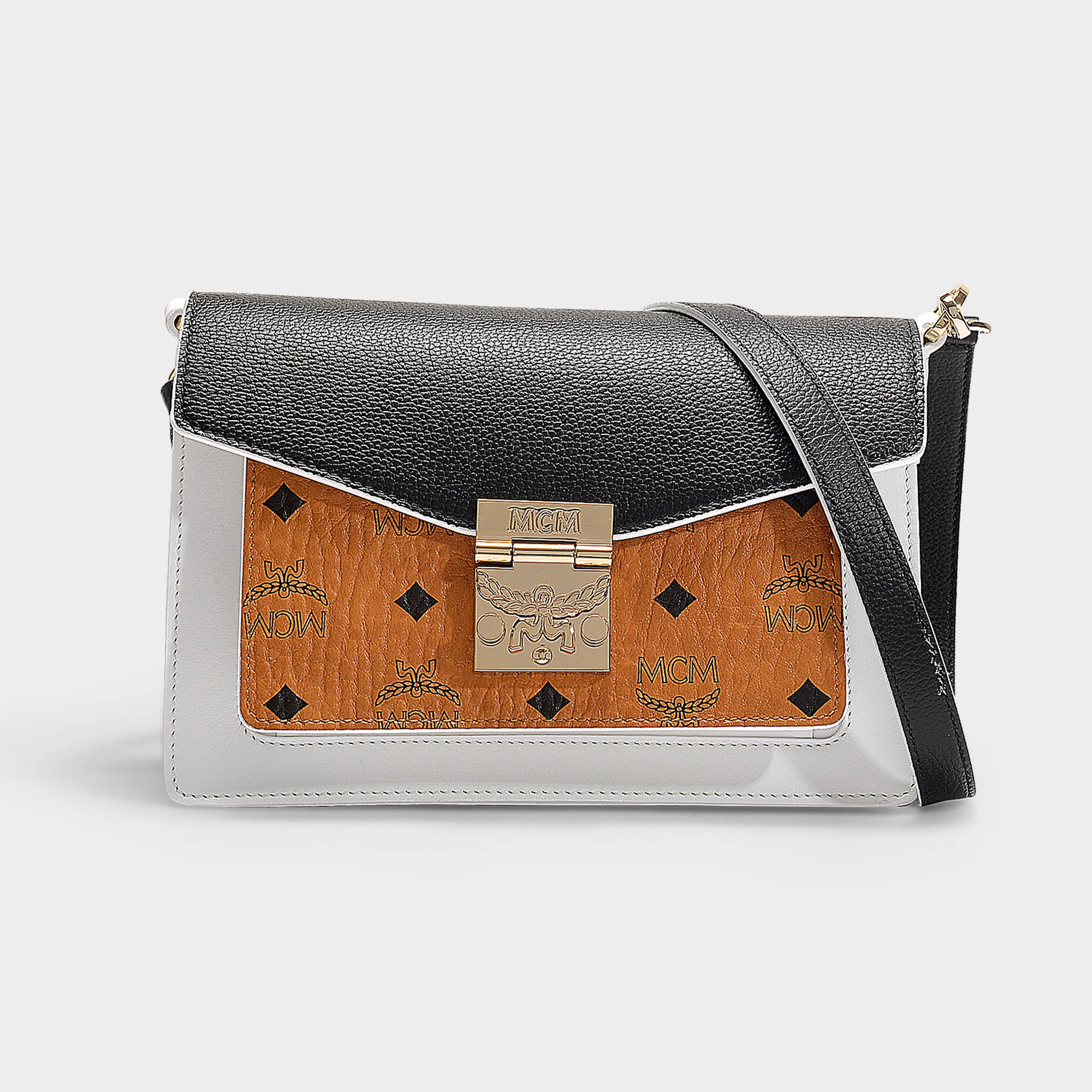 142094c3a Mcm | Patricia Visetos Leather Block Small Crossbody Bag In Cognac And  Black Coated Canvas