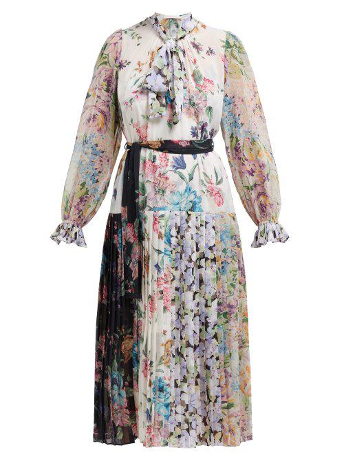 Zimmermann - Ninety Six Floral Print Crepe De Chine Midi Dress - Womens - White Multi