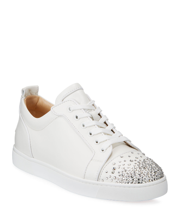Christian Louboutin Men's Louis Junior Crystal-Embellished Leather Sneaker In White