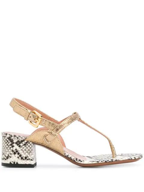5950be2d14b L'Autre Chose Snakeskin Print Sandals - Gold
