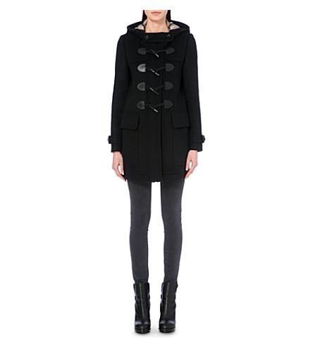 Burberry Finsdale Hooded Duffle Coat W/ Toggles, Black