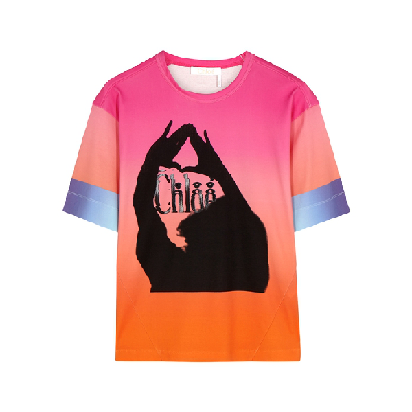 ChloÉ Oversized Printed OmbrÉ Mercerized Cotton-Jersey T-Shirt In Pink