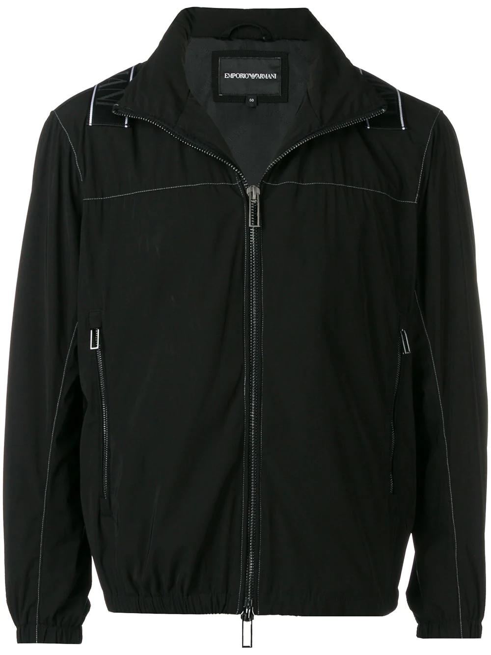 emporio armani logo crossover tape jacket black modesens