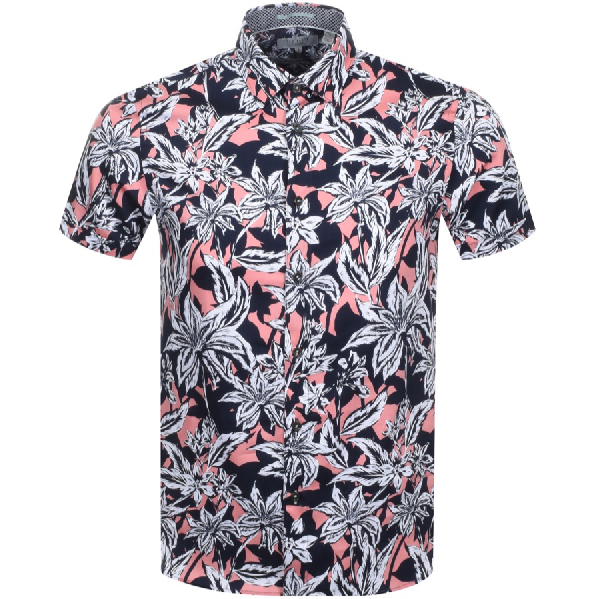Ted Baker Short Sleeved Octapss Shirt Navy