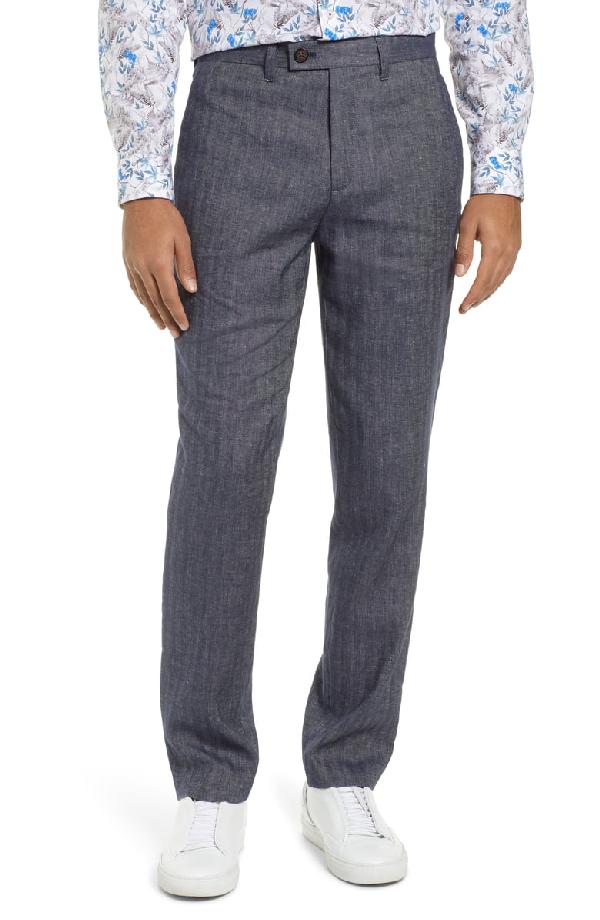 Ted Baker Slim Fit Pants In Blue