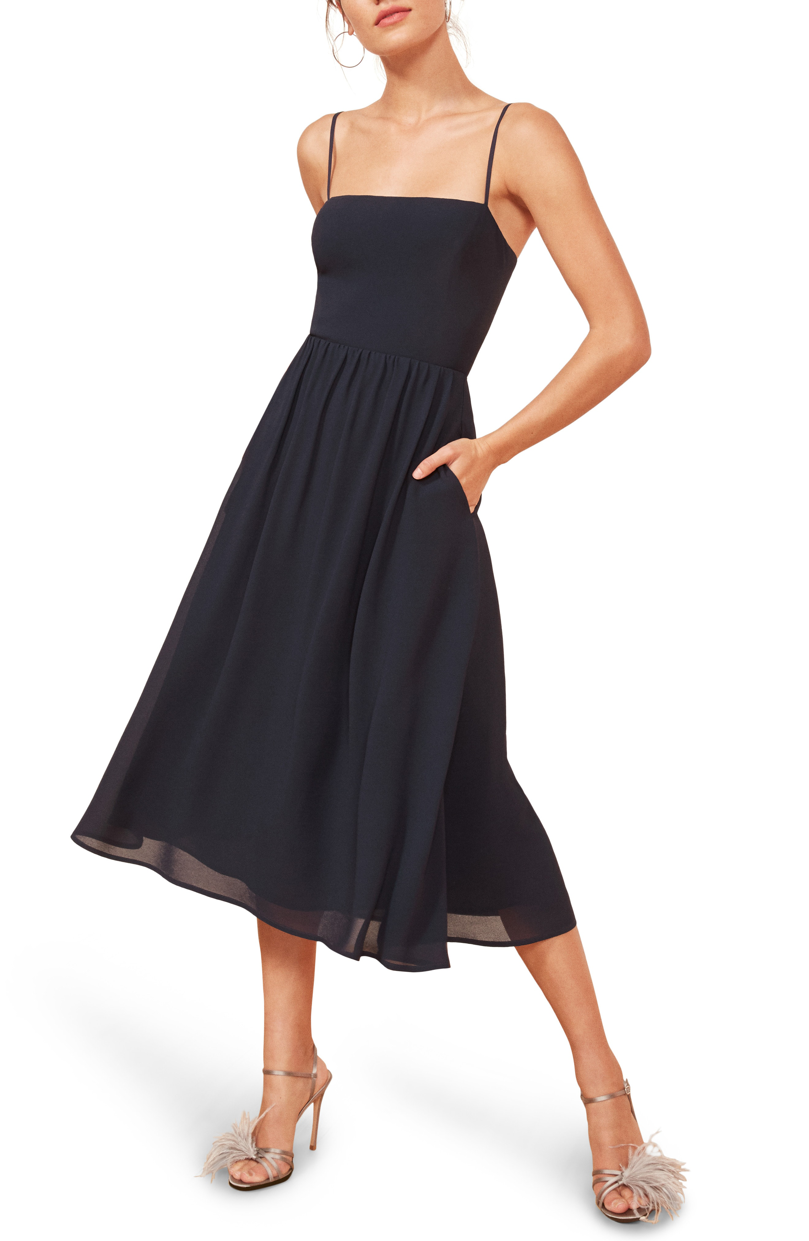 Reformation Rosehip Fit Amp Flare Dress In Navy Modesens