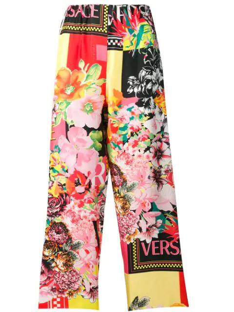Versace Floralmania Print Silk Pants In Yellow
