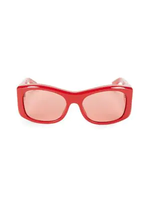 Balenciaga 59Mm Rectangular Acetate Sunglasses In Red
