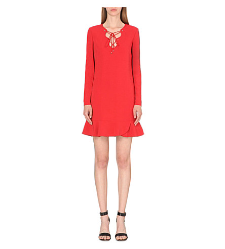 Emilio Pucci Lace-Up Detail Stretch-Crepe Dress In Red