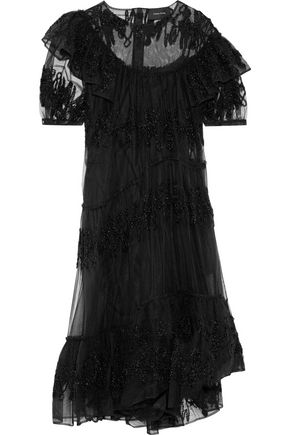 Simone Rocha Woman Tinsel-AppliquéD Ruffled Tulle Dress Black