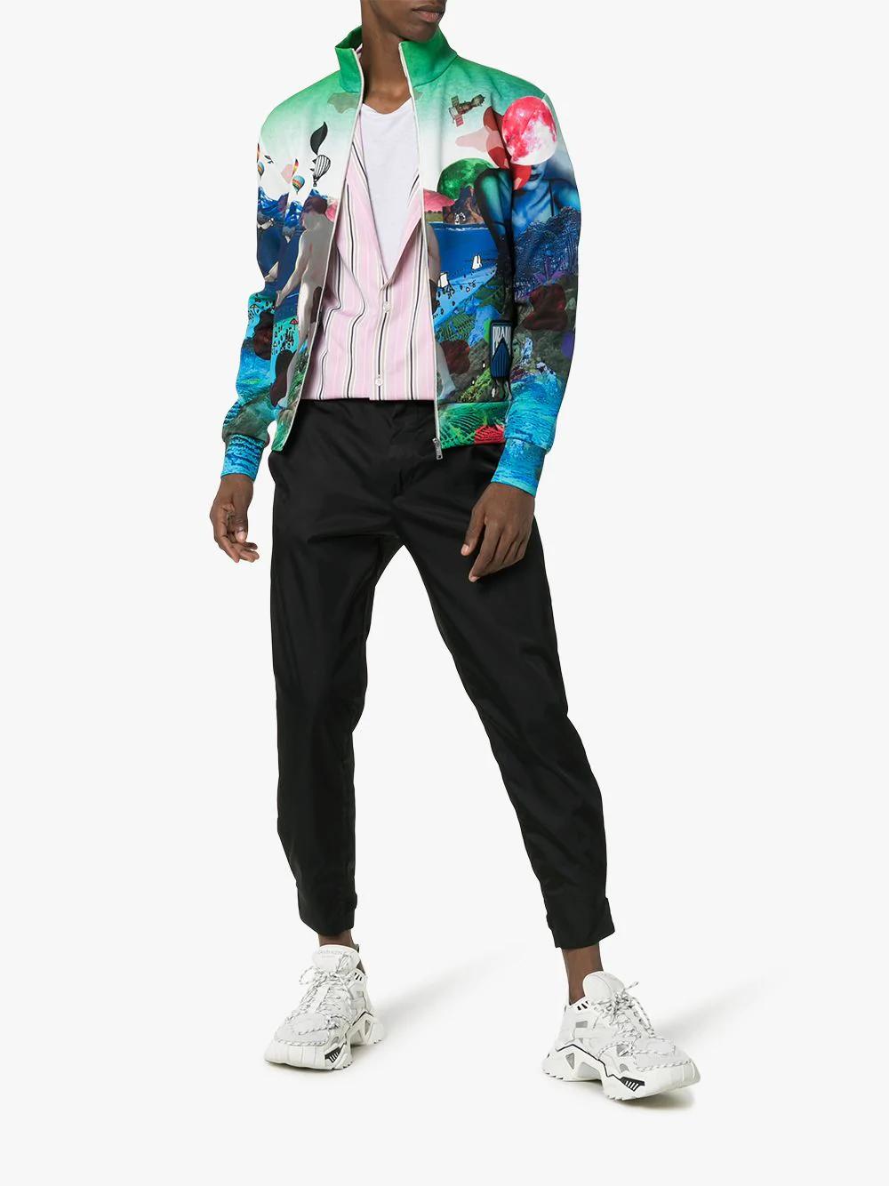 9620c6f280 Prada Flashback Print High Neck Bomber Jacket In F0136 Blue White. Browns  Fashion