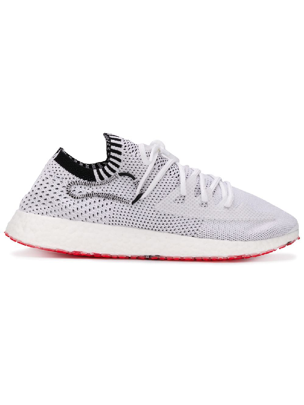 Y-3 White Raito Racer Knitted Upper Leather Trim Low-Top Sneakers