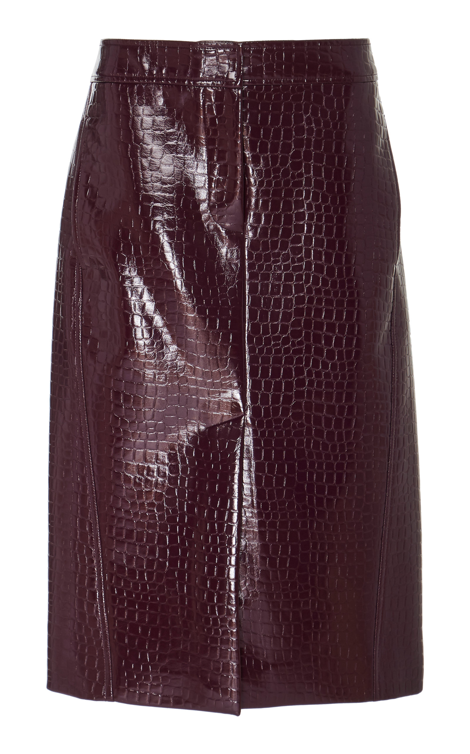 28d89aa8b Tibi Croc-Embossed Faux Leather Midi Skirt In Burgundy | ModeSens