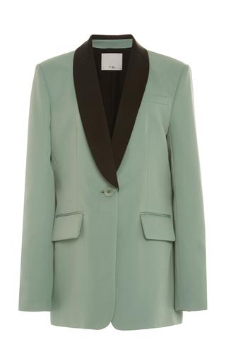 Tibi Oversized Color-blocked Twill Tuxedo Blazer In Green