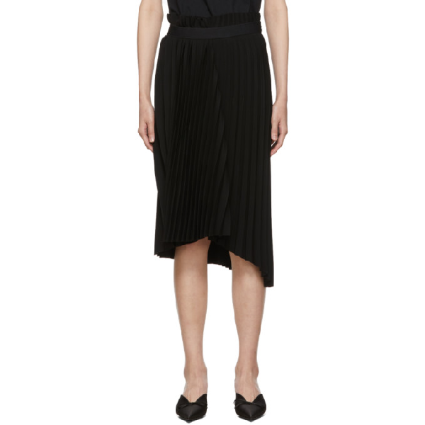 Balenciaga Logo-waistband Pleated Stretch-jersey Midi Skirt In 1000 Black