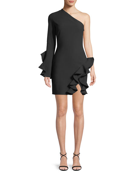 f7d2d1daf6aee CINQ À SEPT. Pia One-Shoulder Long-Sleeve Cocktail Dress With Ruffles ...