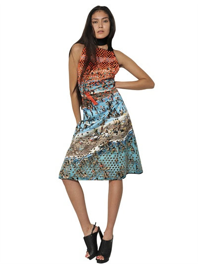 Proenza Schouler Studded And Printed Silk Duchesse Dress In Multicolor