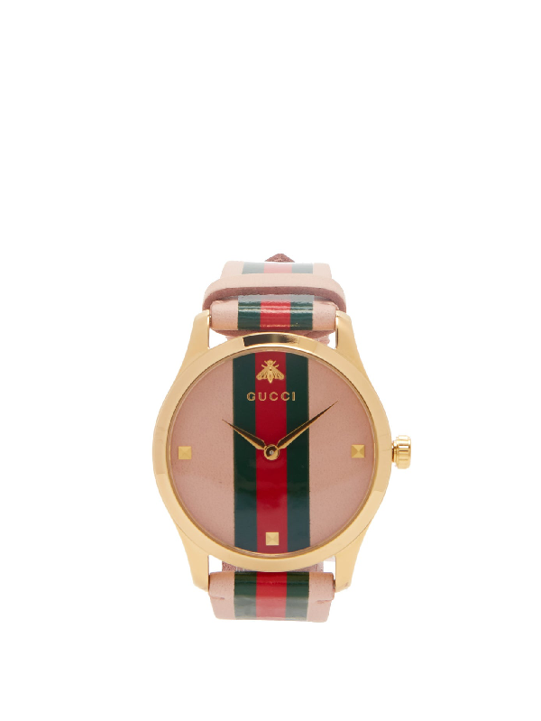 Gucci G-timeless Gold Pvd Case 38mm Pink Green Red Green Stripe Leather Watch