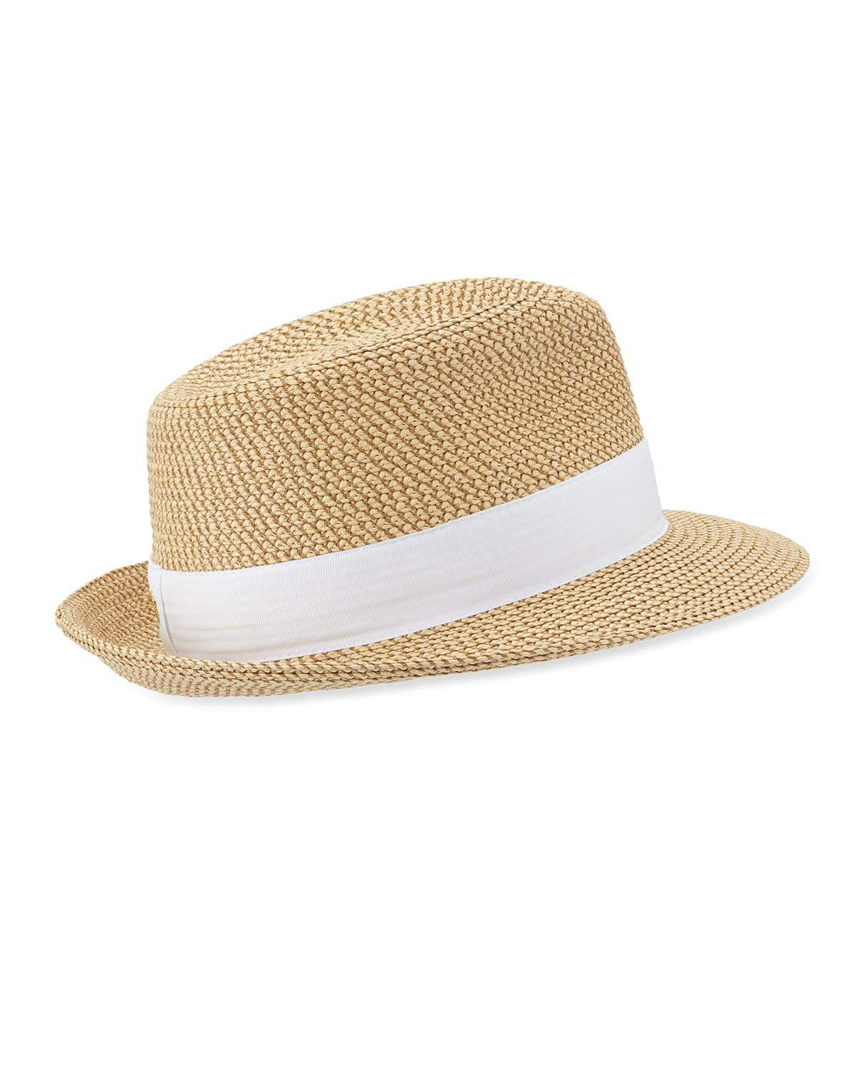 56cfeed3d5ae8 Eric Javits Squishee Classic Woven Fedora Hat In Peanut Blk Check ...