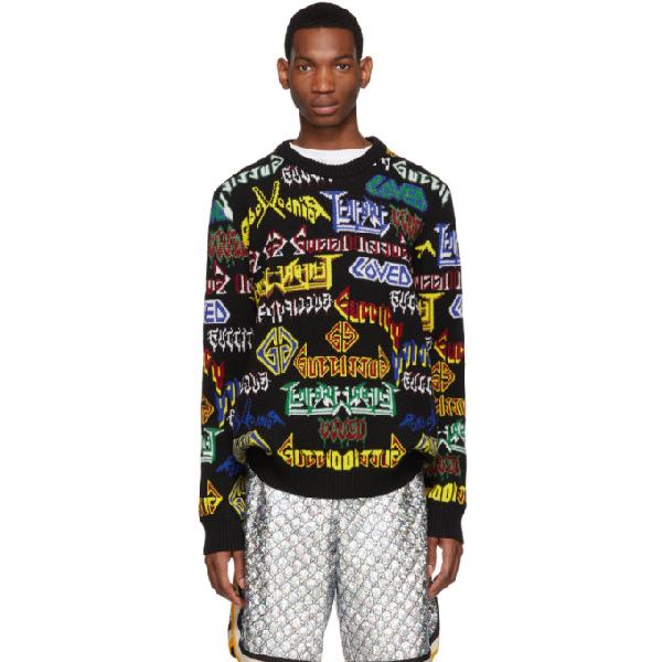 Gucci Men's Medley Logo Intarsia-Knit Sweater, Black In 1082 Black