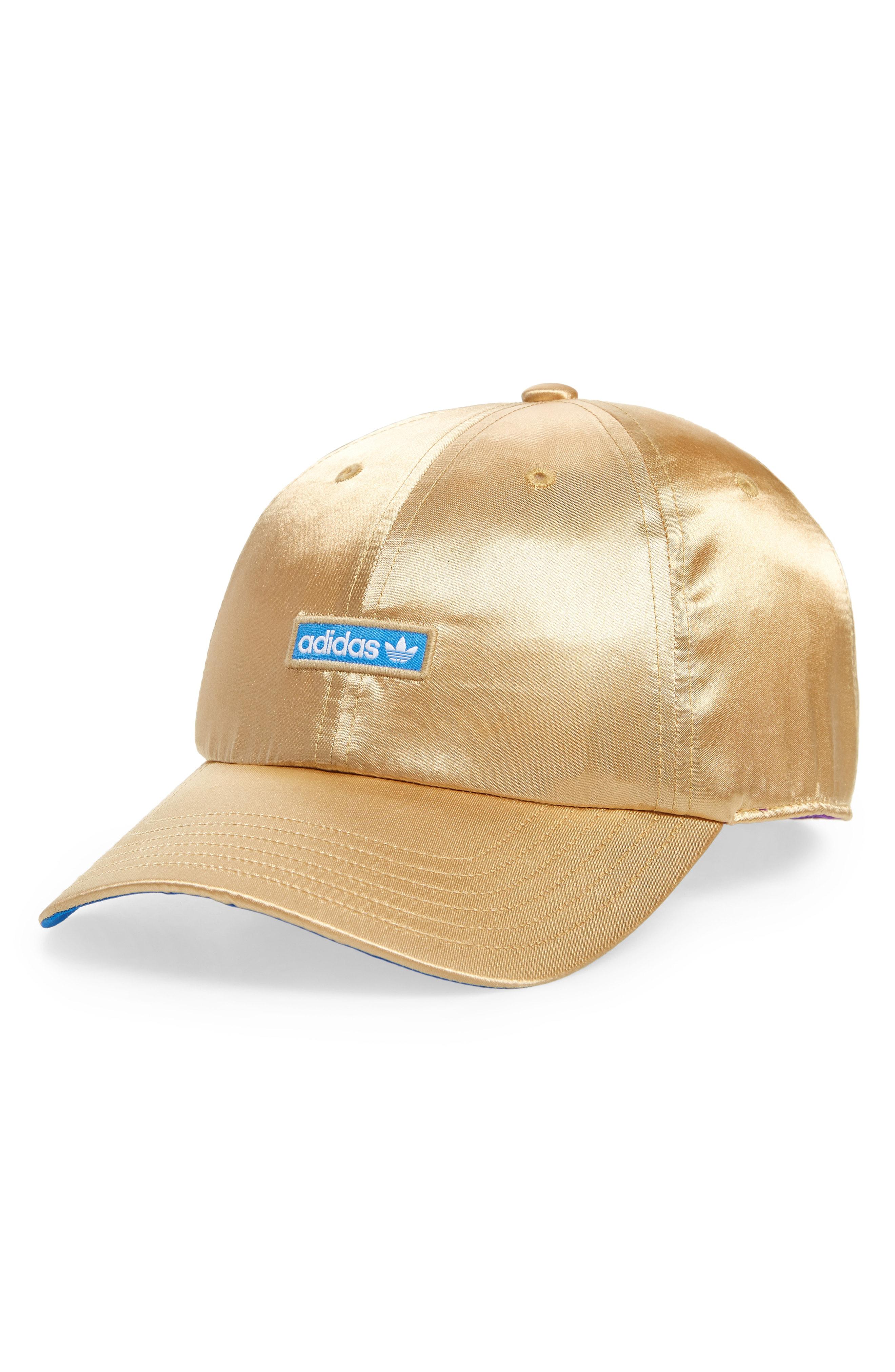 53cd982a92c Adidas Originals Originals Metallic Relaxed Strap Back Hat - Metallic In  Gold  True Blue