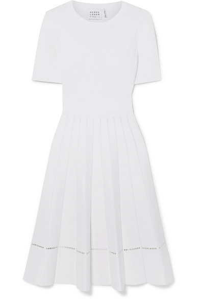 Herve Leger 3/4-Sleeve Crewneck Pleated Dress In White