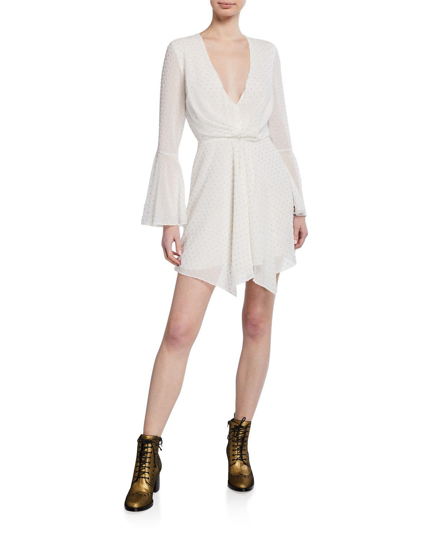 ea60f1b677b Jay Godfrey Dottie Dotted V-Neck Bell-Sleeve Drape-Front Mini Dress ...