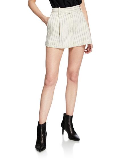 Rag & Bone Millie Striped Cotton Shorts In Ivory Black