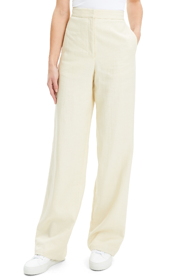 794bae0b8a2 Theory Luxe Linen Clean High-Rise Wide-Leg Trousers In Light Linen ...