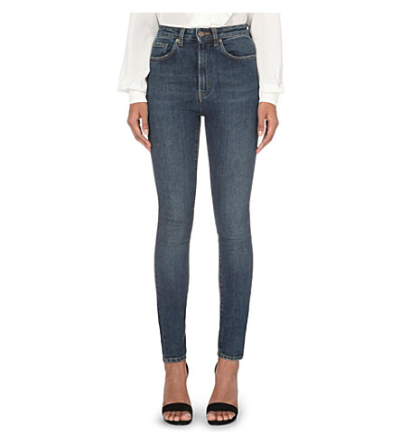 Saint Laurent Distressed Mid-Rise Skinny Jeans In Dirty Wash Blue