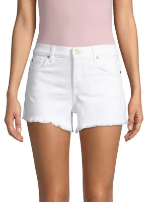 7 For All Mankind Denim Cuf-Off Shorts In White
