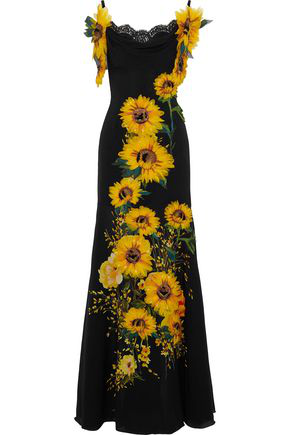 Dolce & Gabbana Woman Off-The-Shoulder AppliquéD Floral-Print Silk-Blend Gown Black