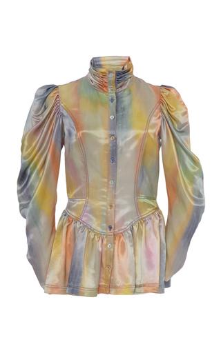 Sies Marjan Thea Printed Peplum Satin Jacket In Multi