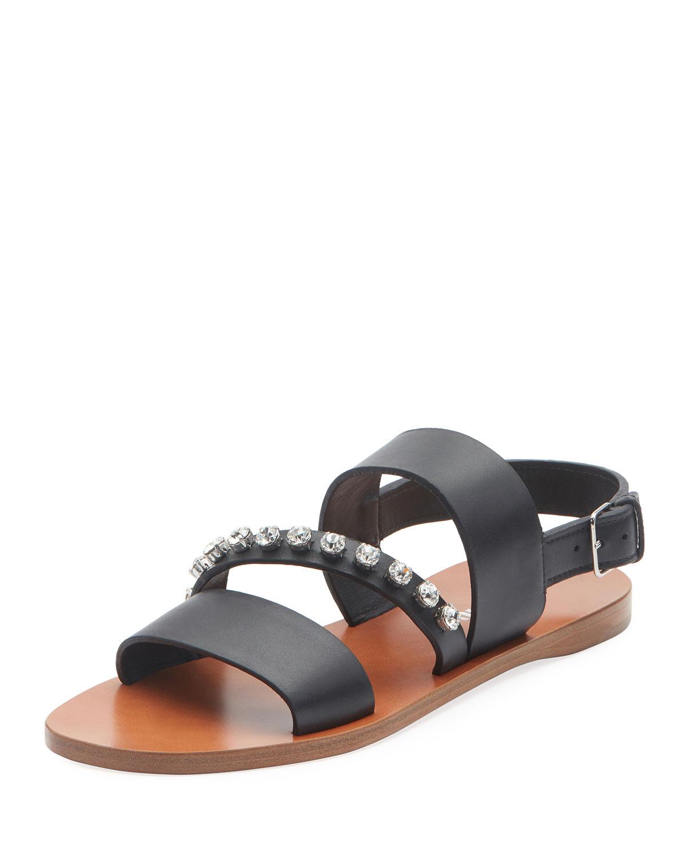 26c988652 Miu Miu Crystal-Stud Flat Sandals In Black
