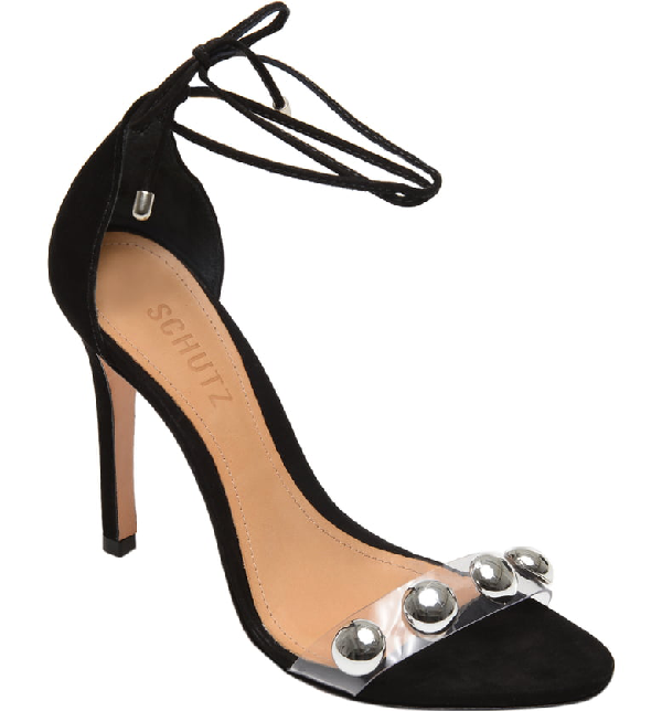 ae5816600c Schutz Women's Ramon Ankle-Tie Suede High-Heel Sandals In Black Nubuck  Leather