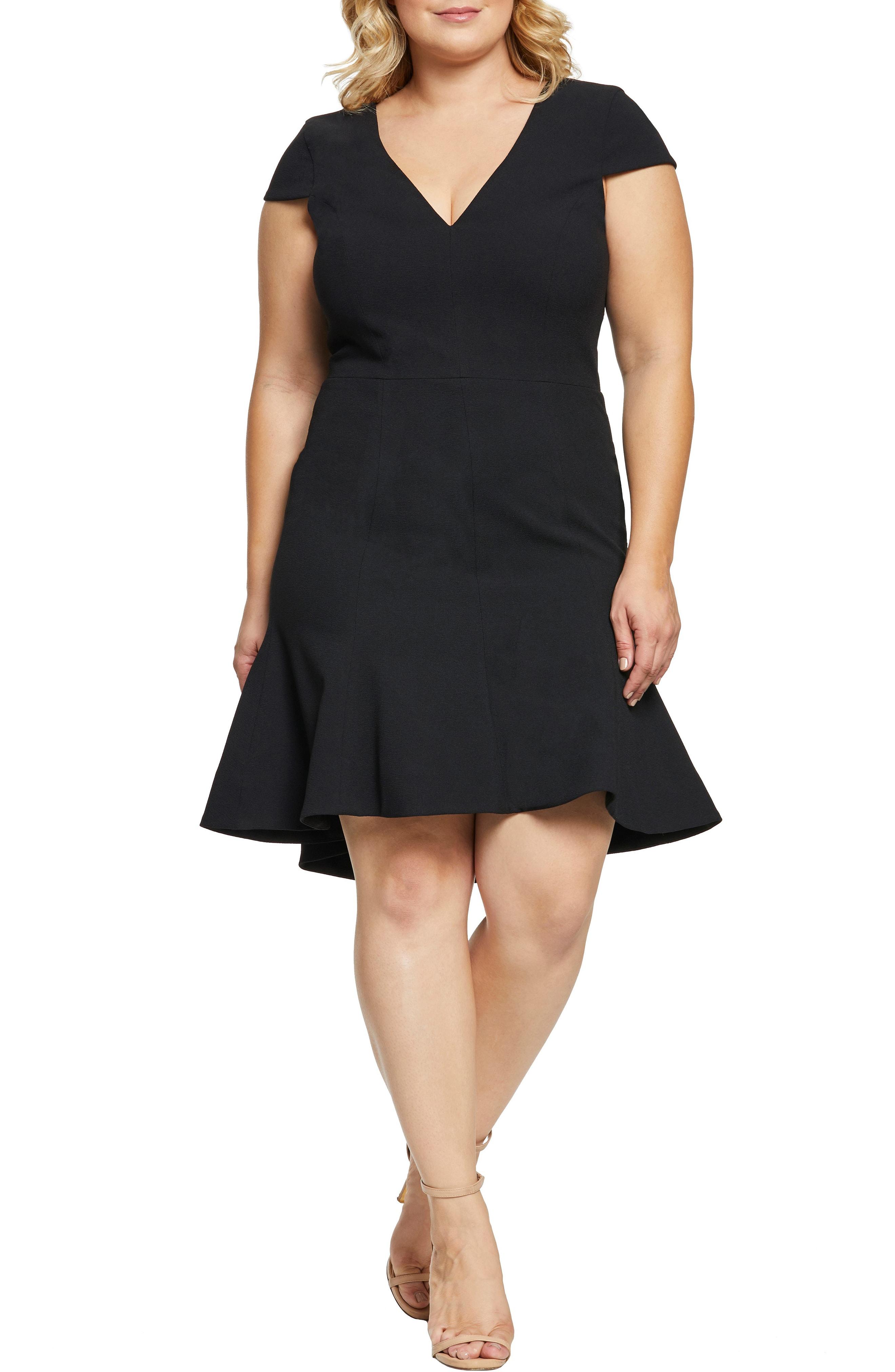 f940d100041 Dress The Population Bettie High Low Ruffle Hem Cocktail Dress In Black