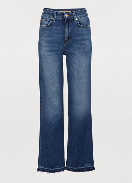 7 For All Mankind High-Waisted Cropped Flared Jeans In Blue
