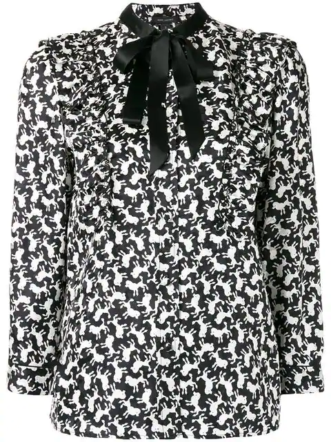 Marc Jacobs Poodle Print Silk Blouse In 100 Black/White