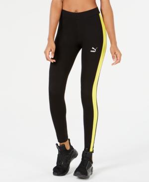 Puma Classics Logo T7 Leggings In Black/Blazing Yellow