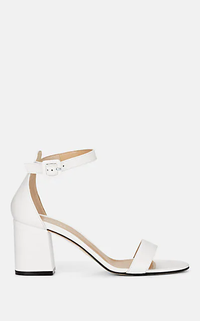 Barneys New York Chunky-Heel Leather Sandals In White